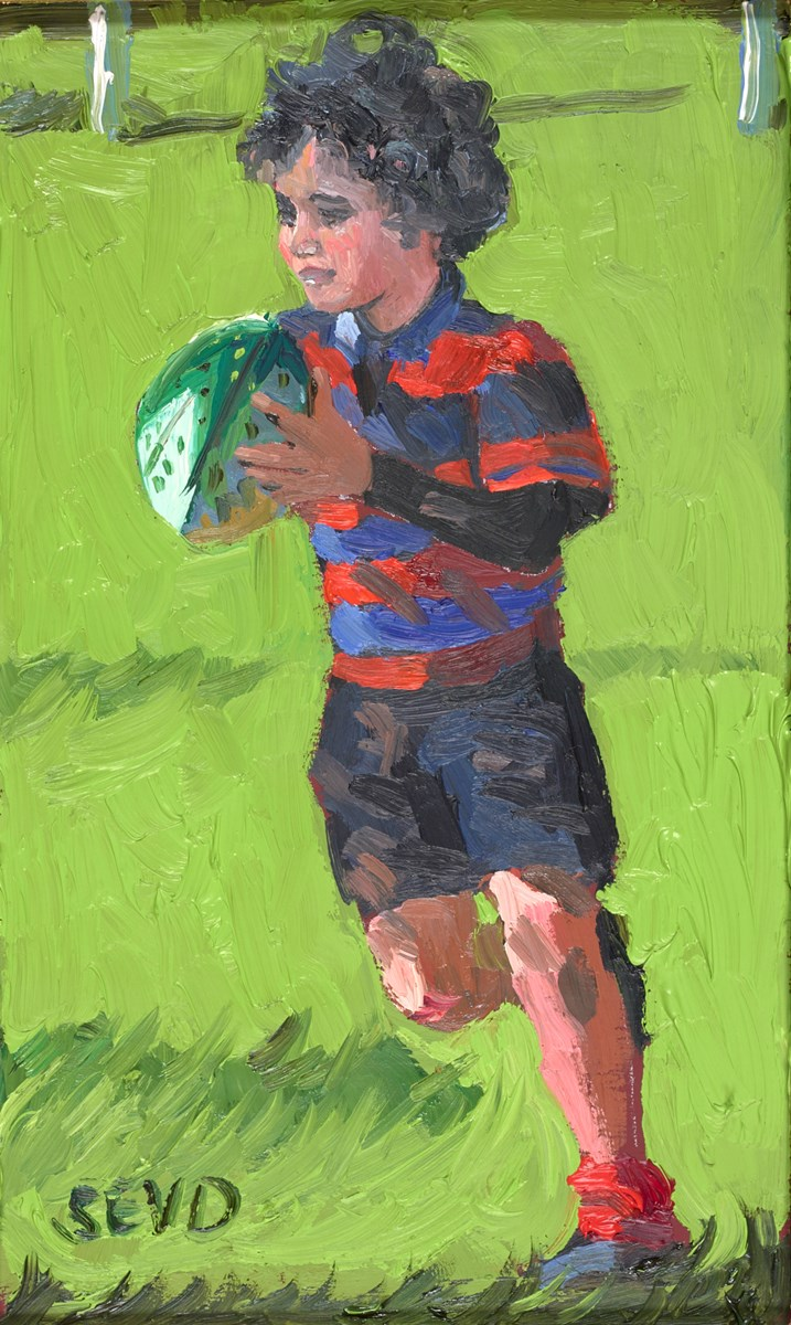 The Little Rugby Player by sherree valentine daines -  sized 5x8 inches. Available from Whitewall Galleries